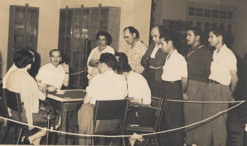 Campeonato de Bridge na Biblioteca:  Jerónimo Simões, Bina Barata,  Oliveirinha, Basílio,...