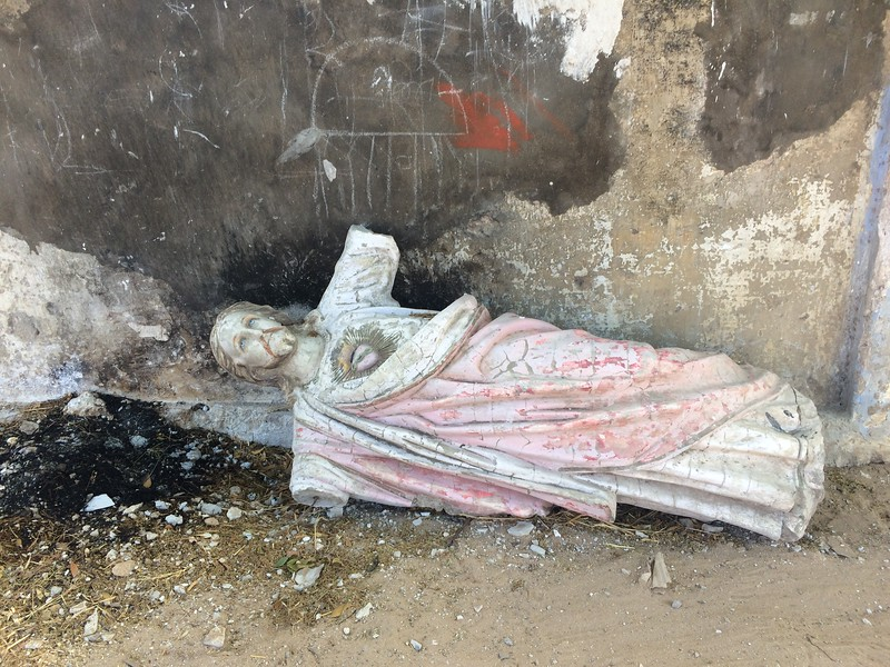 An old broken state of Jesus lying near the church in Tiruchendur. Locals are actively involved in idol making specially young women from fishing community, who look for alternate ways of making money.