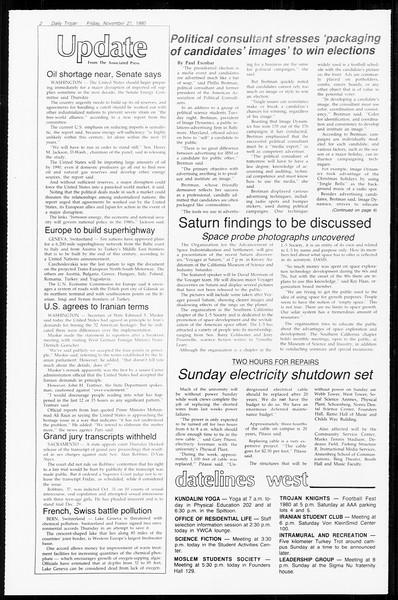 Daily Trojan, Vol. 89, No. 46, November 21, 1980