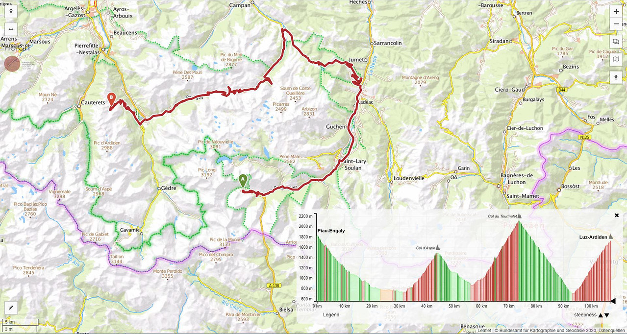 Etapa 8 en el Pirineo francés en los puertos del Tour en AC / furgoneta