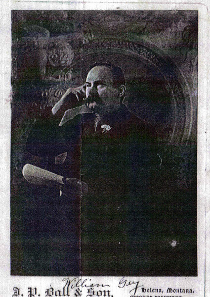 A photograph of William Gay.  He and his brother platted Gayville.  Jerry Bryant of Deadwood tells us that Gay was hanged for murder in Montana, where this photograph was taken.