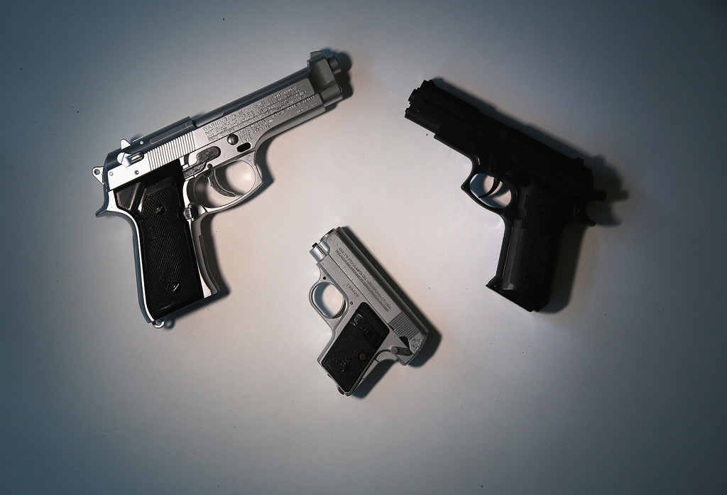 . Toy guns are displayed after being confiscated at airport security checkpoints at the JFK International Airport on November 18, 2014 in New York City.  (Photo by John Moore/Getty Images)