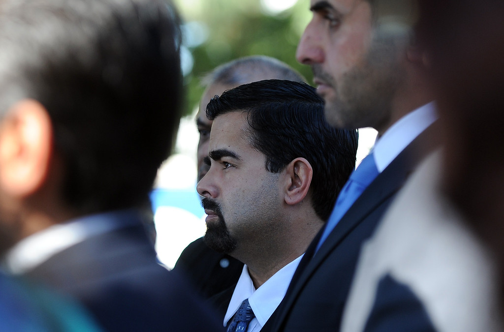 . City of Bell Gardens mayor Daniel Crespo looks on during a press conference with concerned regional elected officials calling for Senator Ron Calderon to resign his position in the California State Senate in front of the Bell Gardens City Hall in Bell Gardens , Calif., on Wednesday, Nov. 13, 2013.   (Keith Birmingham Pasadena Star-News)