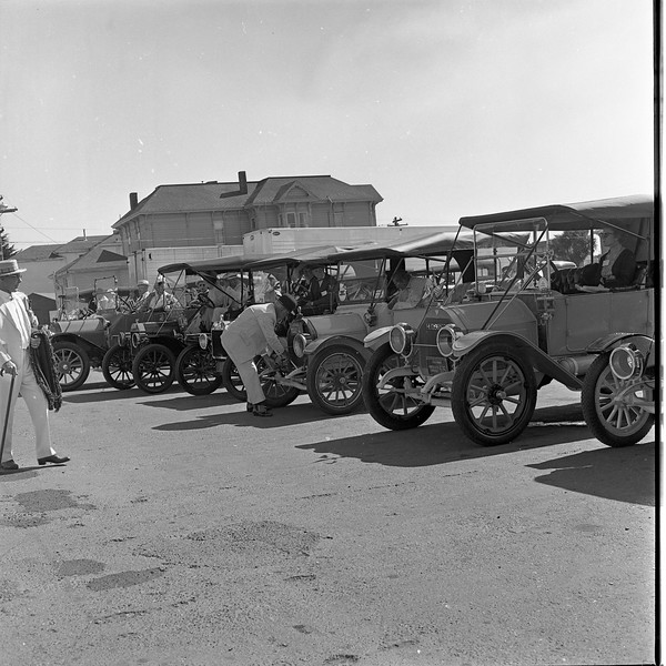 """Old-time automobiles are parked outside of the Eureka Inn in August 1965 as part of the Horseless Carriage Club of America's """"Redwood Tour"""" in Humboldt County (Times-Standard file photo)"""
