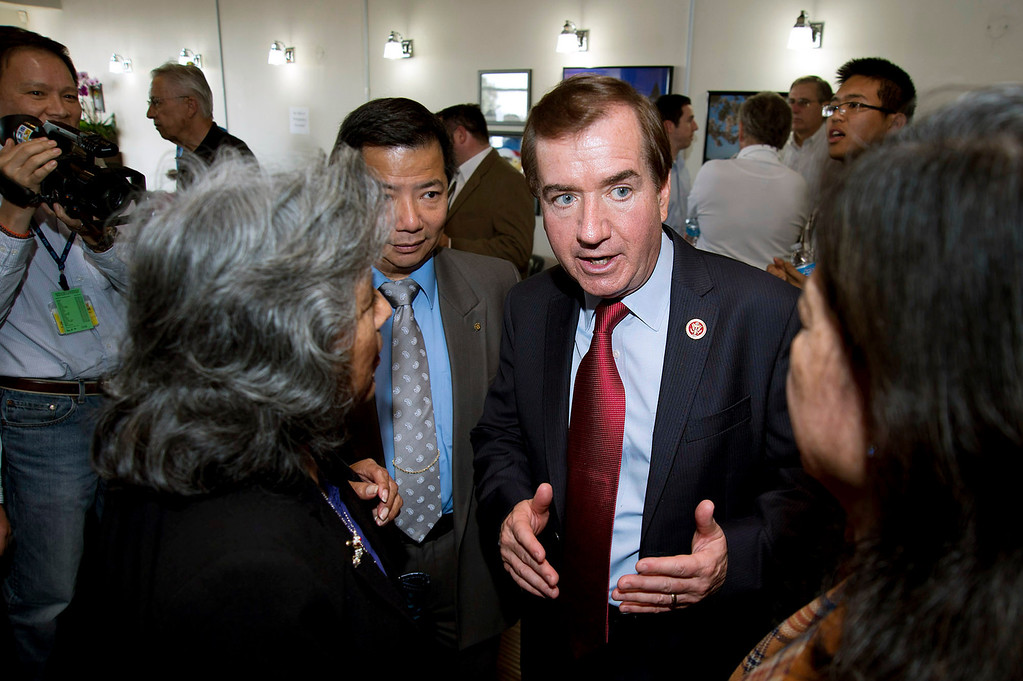 . U.S. Rep. Ed Royce, R-Fullerton, talks to guests and local dignitaries during an open house at his new district office at Diamond Plaza in Rowland Heights on Tuesday, March 26, 2013. (SGVN/Staff photo by Watchara Phomicinda)