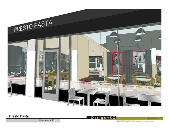 Installation of two black & white images that were captured on European streets in 1997. Presto Pasta, an Italian restaurant is in Santa Barbara, CA, USA.