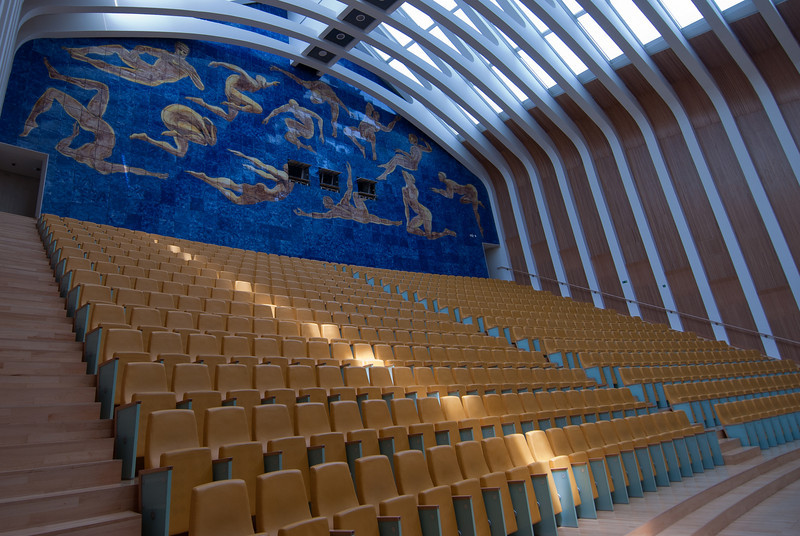 Audience bleachers inside Palau de les Arts Reina Sofia in Valencia, Spain