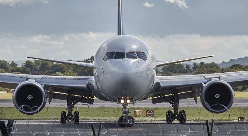airplane taxing at airport