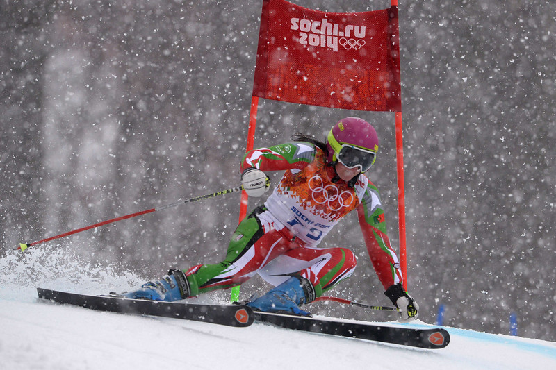 . Portugal\'s Camille Dias competes during the Women\'s Alpine Skiing Giant Slalom Run 2 at the Rosa Khutor Alpine Center during the Sochi Winter Olympics on February 18, 2014.  DIMITAR DILKOFF/AFP/Getty Images