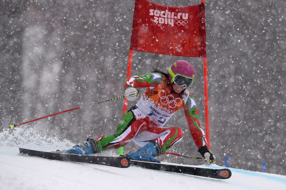 Description of . Portugal's Camille Dias competes during the Women's Alpine Skiing Giant Slalom Run 2 at the Rosa Khutor Alpine Center during the Sochi Winter Olympics on February 18, 2014.  DIMITAR DILKOFF/AFP/Getty Images