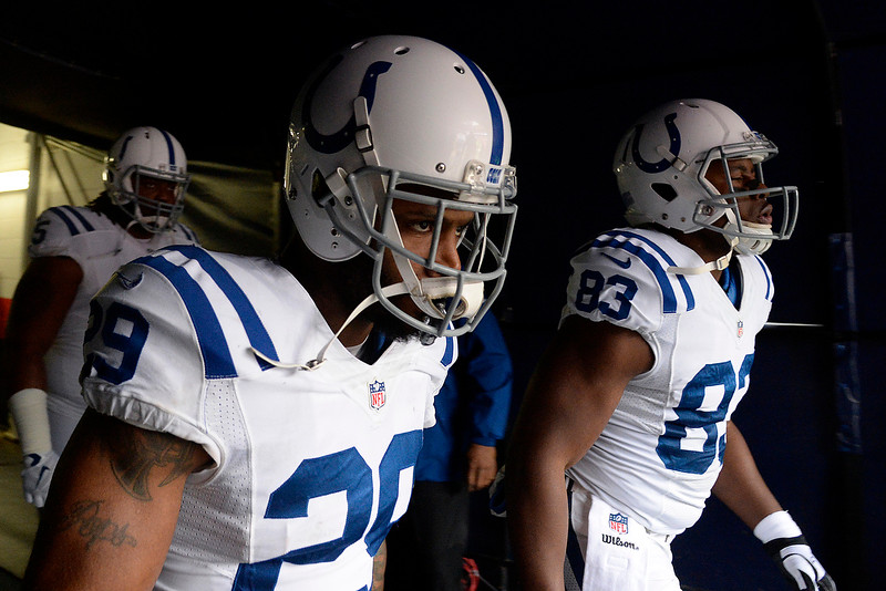 . Mike Adams (29) and Dwayne Allen (83) of the Indianapolis Colts takes the field before the game. The Denver Broncos played the Indianapolis Colts in an AFC divisional playoff game at Sports Authority Field at Mile High in Denver on January 11, 2015. (Photo by AAron Ontiveroz/The Denver Post)