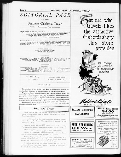 The Southern California Trojan, Vol. 8, No. 48, December 15, 1916
