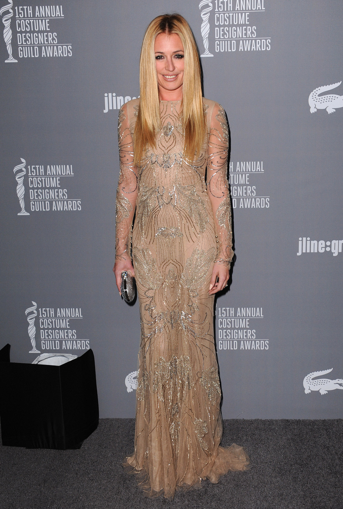 Description of . Cat Deeley arrives at the 15th Annual Costume Designers Guild Awards at The Beverly Hilton Hotel on Tuesday, Feb. 19, 2013 in Beverly Hills. (Photo by Jordan Strauss/Invision/AP)