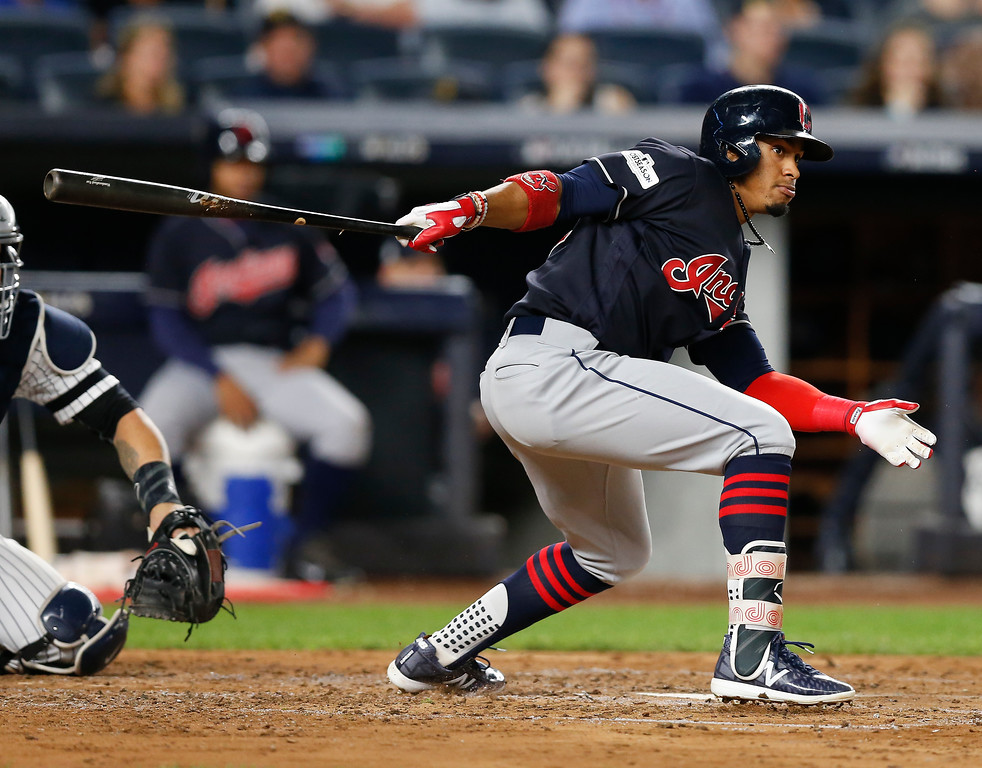 . Cleveland Indians\' Francisco Lindor grounds out against the New York Yankees during the fourth inning in Game 3 of baseball\'s American League Division Series, Sunday, Oct. 8, 2017, in New York. (AP Photo/Kathy Willens)