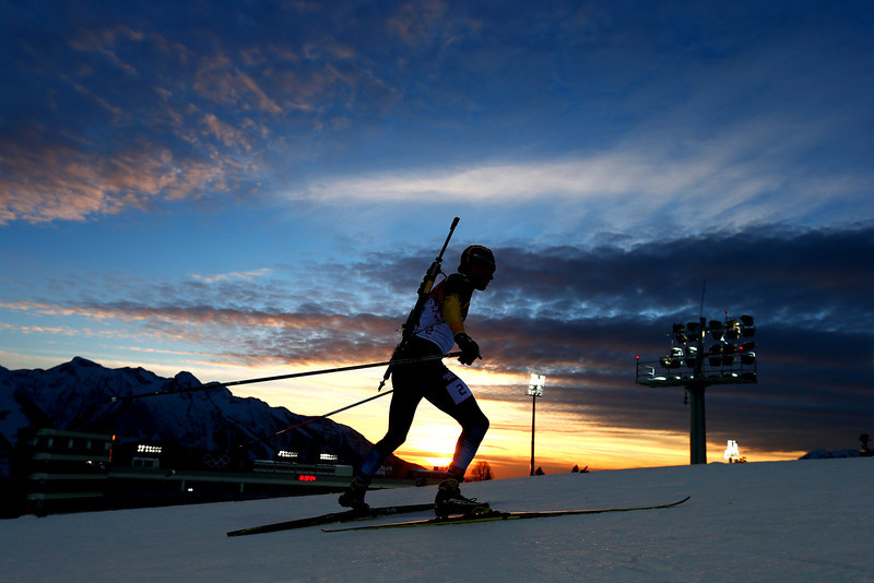 . Fredrik Lindstroem of Sweden competes in the Men\'s Sprint 10 km during day one of the Sochi 2014 Winter Olympics at Laura Cross-country Ski & Biathlon Center on February 8, 2014 in Sochi, Russia.  (Photo by Clive Mason/Getty Images)