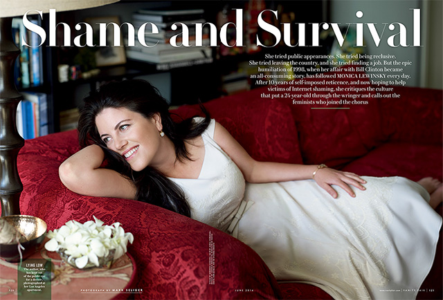 ". <p><b> Former presidential intern Monica Lewinsky has broken her silence, writing a first-person essay detailing her personal experiences for this magazine � </b> <p> A. Vanity Fair  <p> B. Time <p> C. Cigar Aficionado <p><b><a href=\'http://www.vanityfair.com/online/daily/2014/05/monica-lewinsky-speaks\' target=""_blank\""> LINK </a></b> <p>   (Vanity Fair)"