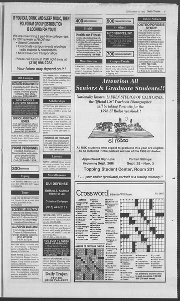 Daily Trojan, Vol. 126, No. 12, September 18, 1995
