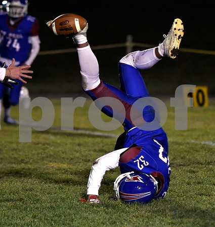 11/22/2017 Mike Orazzi | Staff St. Paul's Rudy Otero (32) during Wednesday night's football game in Bristol.