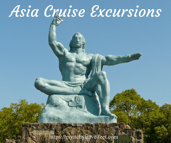 Asia Cruise Excursions include a Nagasaki visit where a statue points to the sky at the Peace Park.