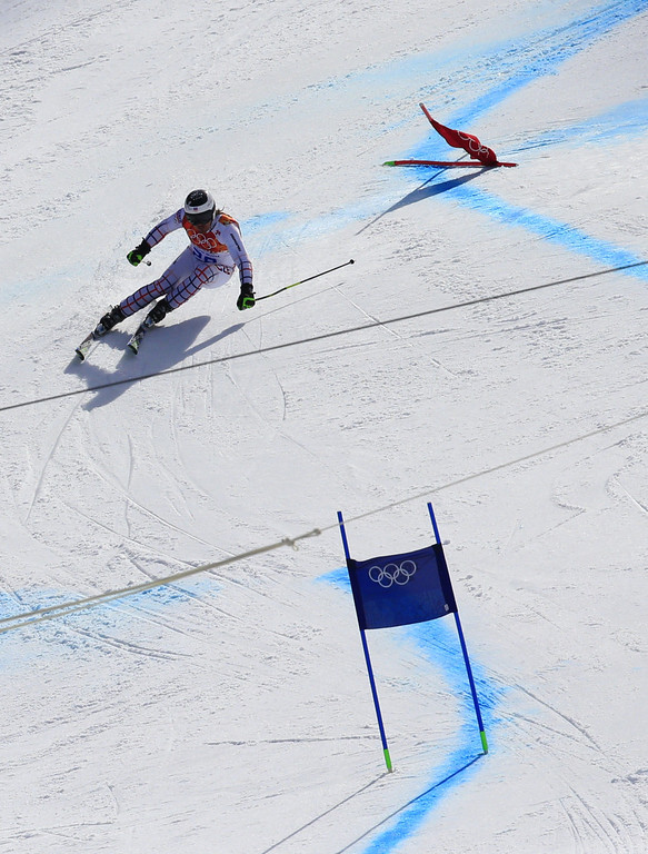 . Czech Republic\'s Ondrej Bank competes during the Men\'s Alpine Skiing Giant Slalom Run 1 at the Rosa Khutor Alpine Center during the Sochi Winter Olympics on  KLEIN/AFP/Getty Images