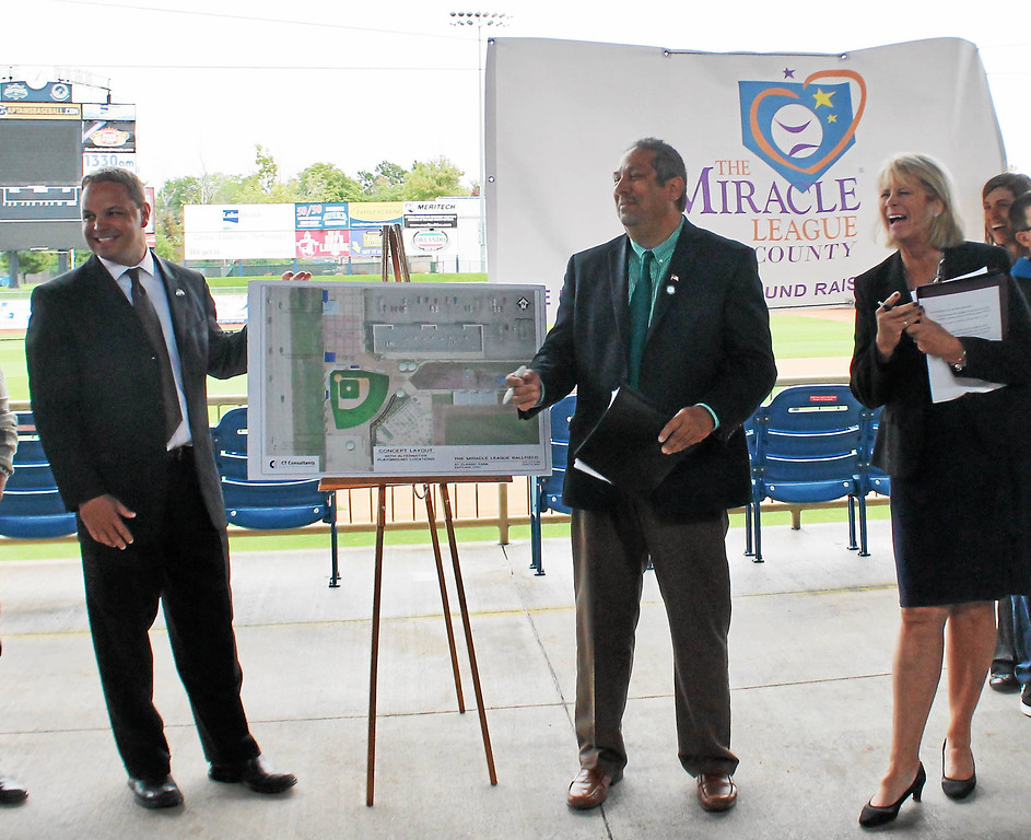 . Kristi Garabrandt � The News-Herald <br> Lake County Captains General Manager Neil Stein, along with Eastlake Mayor Dennis Morley and Lake County Commissioner Judy Moran, talk about the future Miracle League ballpark coming to Eastlake during a press conference held at Classic Park.