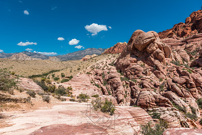 Red sandtone mountain range in red rock canyon