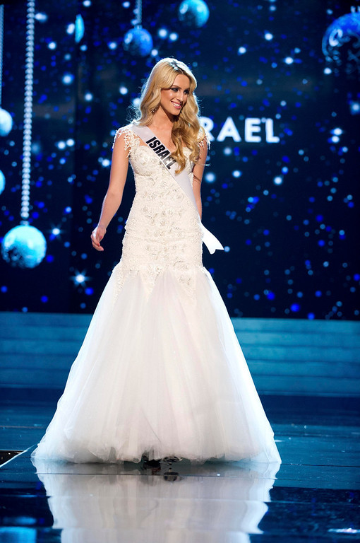 . Miss Israel 2012 Lina Makhuli competes in an evening gown of her choice during the Evening Gown Competition of the 2012 Miss Universe Presentation Show in Las Vegas, Nevada, December 13, 2012. The Miss Universe 2012 pageant will be held on December 19 at the Planet Hollywood Resort and Casino in Las Vegas. REUTERS/Darren Decker/Miss Universe Organization L.P/Handout
