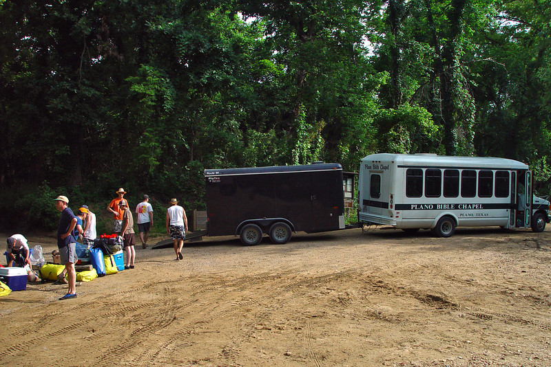 Here we are unloading the bus of what we would need for the canoe portion of the trip. We had spent the previous night at the Rush Landing camping ground, which was a great spot except for the insane racoons that tore into my food bags. :)