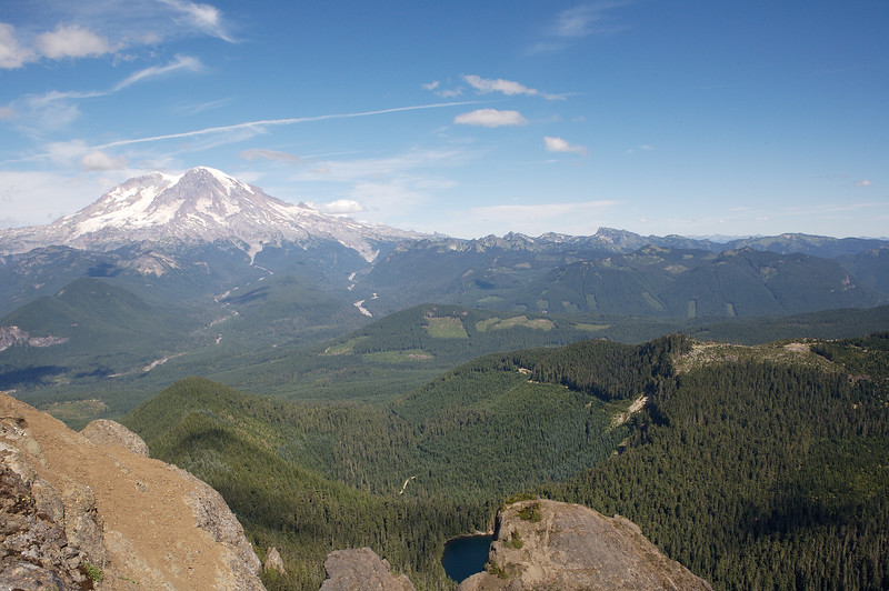 Looking North towards Mt Rainier from the tip of High Rock.