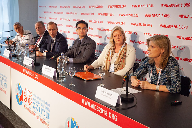 The Netherlands, Amsterdam, 24-7-2018. Press Conference HIV Prevention Highlights Research. L-R Linda-Gail Bekker, Frank Tomaka, Jean-Michael Molina, Akarin Hiransuthikul, Sara Brown, Alison RodgerPhoto: Rob Huibers for IAS. (Please publish always with complete attribution).