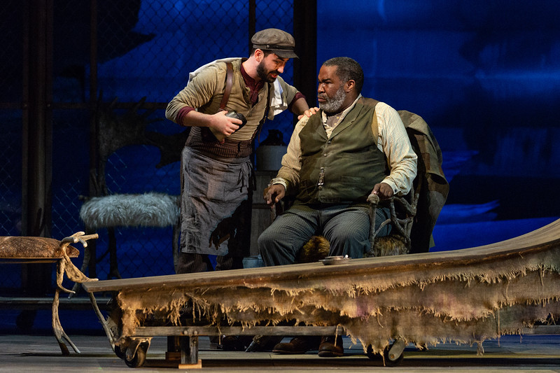 "Brian Wallin as Pasek, the Innkeeper, and Eric Owens as the Forester in The Glimmerglass Festival's 2018 production of Janáček's ""The Cunning Little Vixen."" Photo: Karli Cadel/The Glimmerglass Festival"