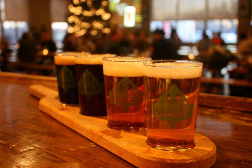 . Can\'t decide on just one beer? Sample a bunch. Summit sells its beer by the pint or flight. (Courtesy of Summit Brewing)