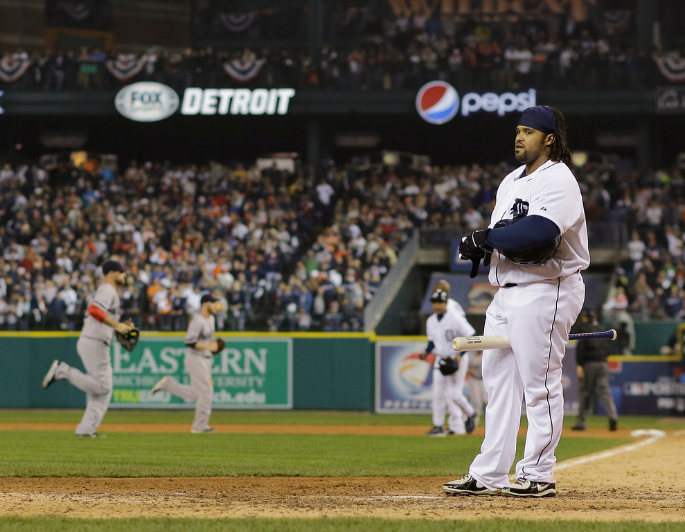 . Detroit Tigers\' Prince Fielder stands at home plate after striking out in the eighth inning during Game 3 of the American League baseball championship series against the Boston Red Sox Tuesday, Oct. 15, 2013, in Detroit. (AP Photo/Matt Slocum)