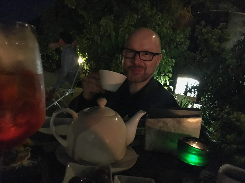 A negroni cocktail served in a teapot!