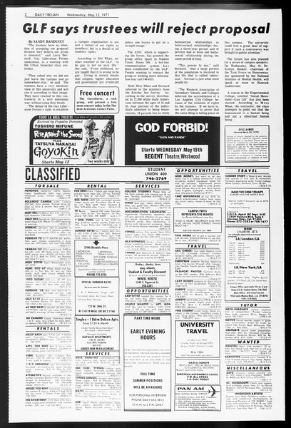 Daily Trojan, Vol. 62, No. 121, May 12, 1971