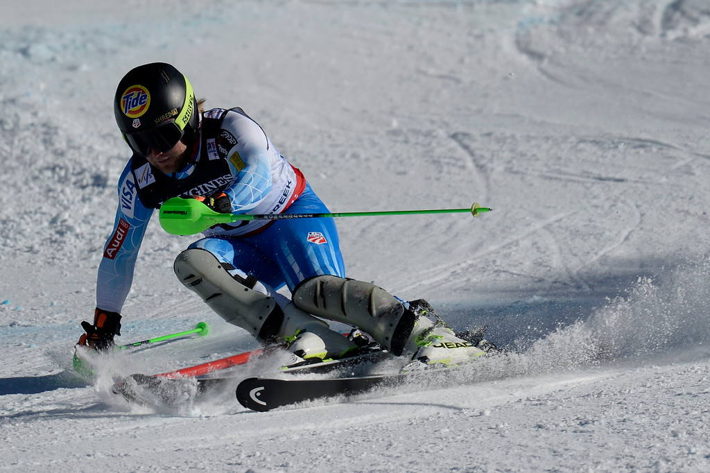 . BEAVER CREEK, CO - FEBRUARY 08: Andrew Weibrecht of USA competes during the men\'s alpine combined final. FIS Alpine World Ski Championships 2015 on Sunday, February 8, 2015. (Photo by AAron Ontiveroz/The Denver Post)
