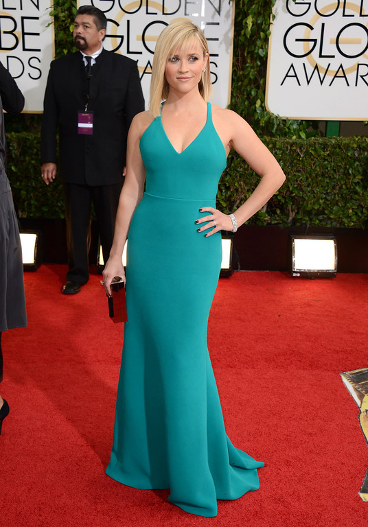 . Reese Witherspoon arrives at the 71st annual Golden Globe Awards at the Beverly Hilton Hotel on Sunday, Jan. 12, 2014, in Beverly Hills, Calif. (Photo by Jordan Strauss/Invision/AP)