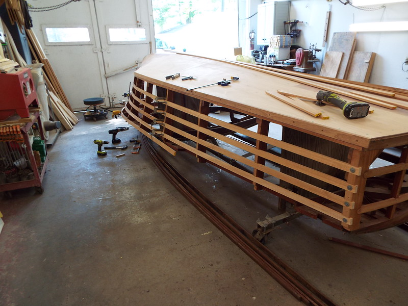 Rear view of the starboard side battens being fit.