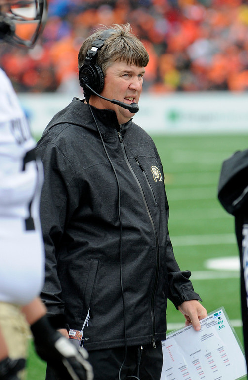 . Colorado\'s head coach Mike Macintyre during the first half of an NCAA college football game against Oregon State on Saturday, Sept 28, 2013, in Corvallis, Ore. (AP Photo/Greg Wahl-Stephens)