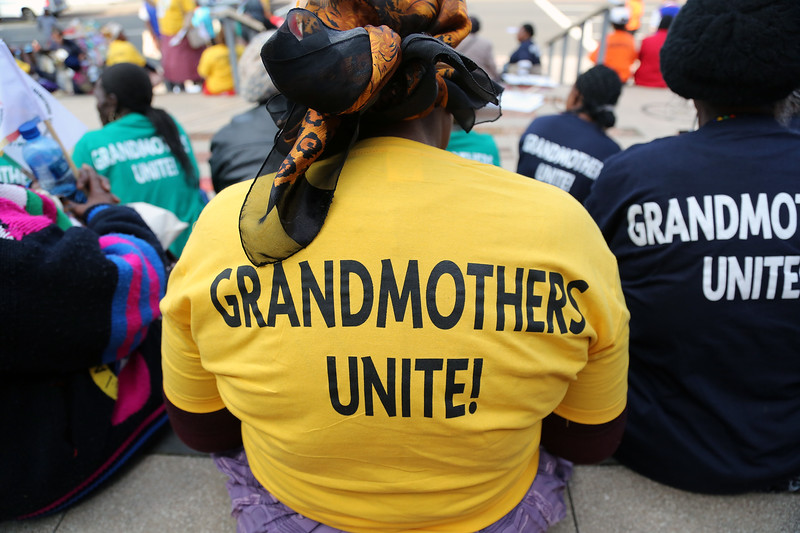 21st International AIDS Conference (AIDS 2016), Durban, South Africa. 16th July 2016 Grandmothers united having a march and gathering outside the Durban ICC Photo©International AIDS Society/Abhi Indrarajan