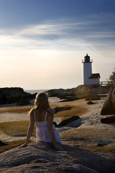 Model Lyza Parsons at Annisquam Lighthouse in Gloucester. Photo by Amy Sweeney