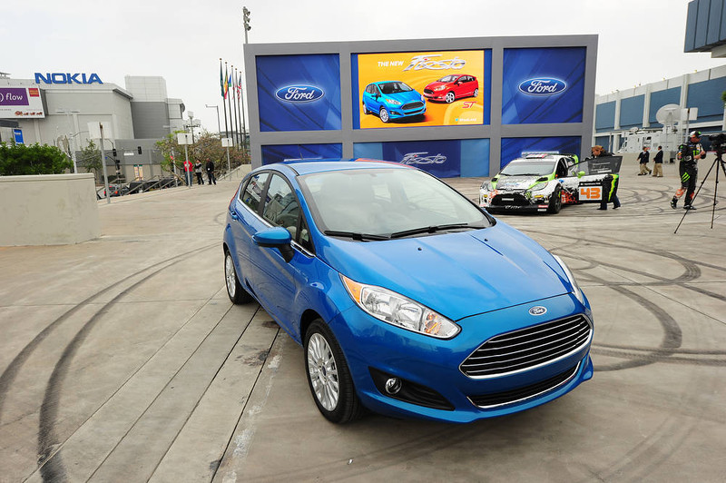 . Ford\'s new Fiesta ST hatchback vehicle is displayed at the Los Angeles Auto show  in Los Angeles, California on media preview day, November 28, 2012.  The LA Auto Show will open to the public on November 30 and runs through December 9AFP PHOTO / Robyn  BECK/AFP/Getty Images