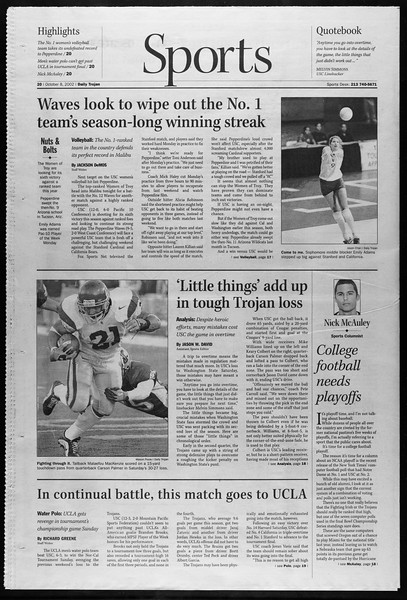 Daily Trojan, Vol. 147, No. 30, October 08, 2002