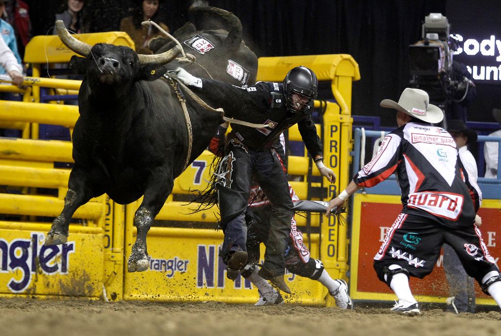. Bull rider Cody Teel of Kountze, Texas appears to have his hand stuck in the rope as he gets thrown from a bull during the first go-round of the Wrangler National Finals Rodeo in Las Vegas Thursday, Dec. 4, 2014. (AP Photo/Las Vegas Sun, Steve Marcus)