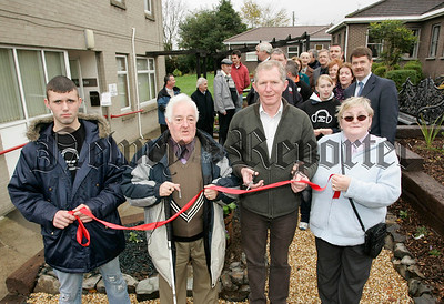 Brendan Curran officiall opens the new sensory garden at the Conifer's centre. Also in picture are Anthony Kearney, Patrick O'Keefe (Chairperson N+M Visually Impaired club) and Margaret Mathers from the visually Impaired users group. 06W48N4