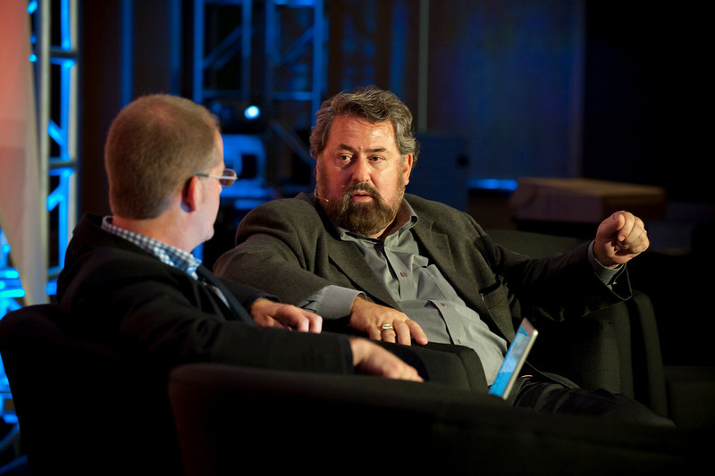 """Dinner Discussion: """"Avoiding the Downdraft"""": Host Michael Copeland (L), Senior Writer, Fortune; and Mark Anderson, SNS CEO and FiRe Chair"""