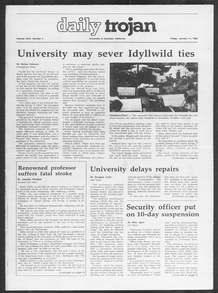 Daily Trojan, Vol. 93, No. 4, January 14, 1983