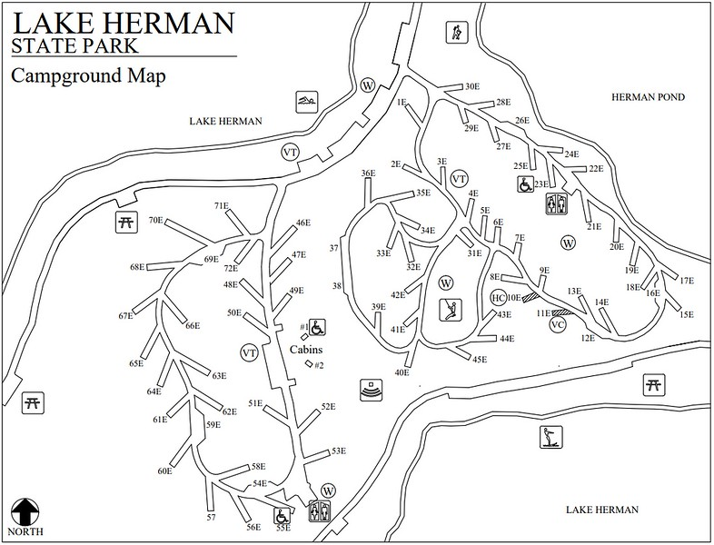 Lake Herman State Park (Campground Map)