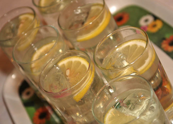 Lemonade during a wedding reception at Dairy Barns