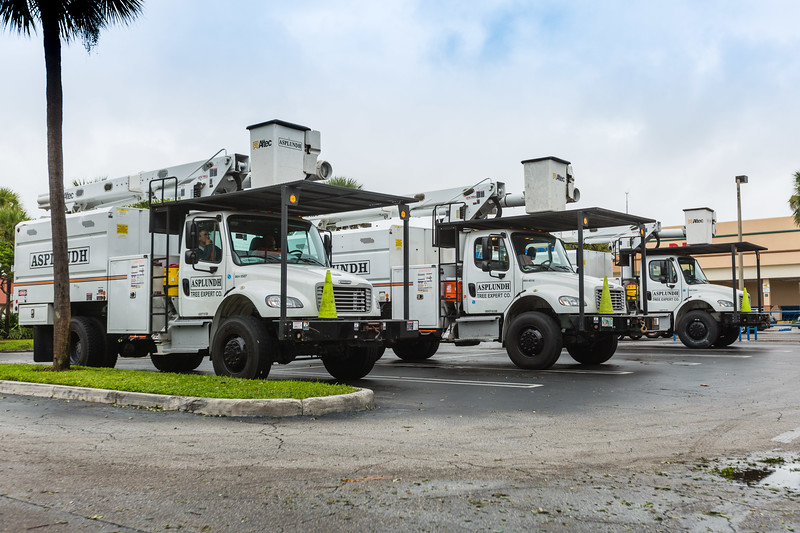Asplundh trucks sit in the Poinciana Plaza in Riviera Beach waiting for assignments in the aftermath of Hurricane Matthew on Friday, October 7, 2016. (Joseph Forzano / The Palm Beach Post)